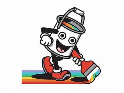 Rainbow Paint Bucket Animation Character Social Dribbble