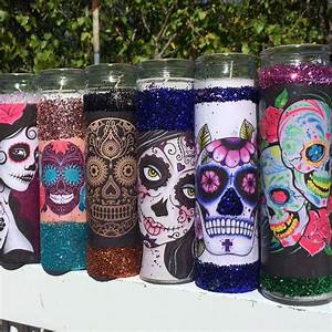 sugar skull tall candle holders wedding party favors 7 day With dia de los muertos wedding favors
