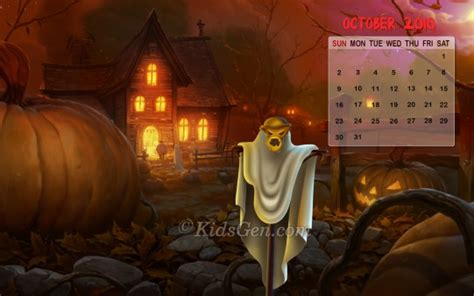 halloween october calendar  kidsgen wallpaper