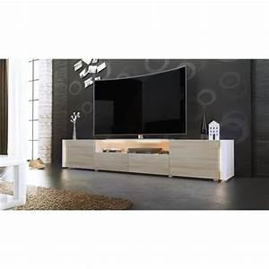Meuble Bois Et Blanc : meuble tv blanc et bois brut sans led achat vente meuble tv meuble tv blanc et bois bru ~ Teatrodelosmanantiales.com Idées de Décoration