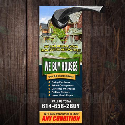 buy houses door hanger  real estate lead generator