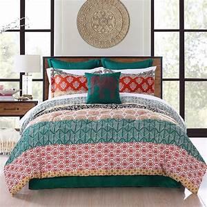 lush, decor, bohemian, stripe, polyester, reversible, comforter