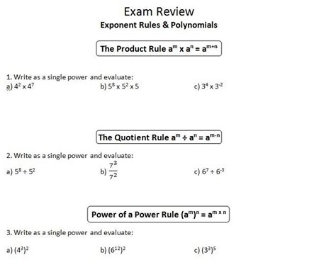 Ins'pi're Math Mpm1d Exam Review 1 Exponent Rules, Polynomials, Solving Equations