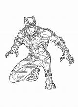Coloring Panther Marvel Pages Superhero sketch template