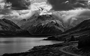 Nature, Landscape, Lake, Mountain, Road, Clouds, Monochrome, Scotland, Trees, Snowy, Peak, Dark