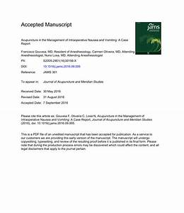 Acupuncture In The Management Of Intraoperative Nausea And