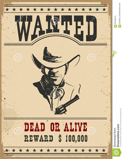 western wanted poster vector illustration cartoondealer