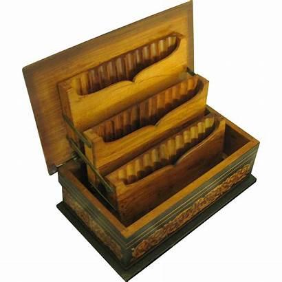 Cigarette Wooden Box Ornate Folding European Tiers