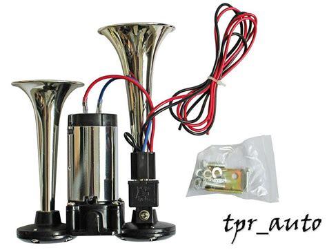 lkw hupe 12v 2 klang fanfare horn hupe nebelhorn chrom kompressor relais 12v lkw 1020 ebay