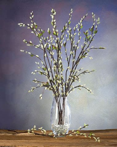 pussy willow silk flower stems  casual decorating  petals