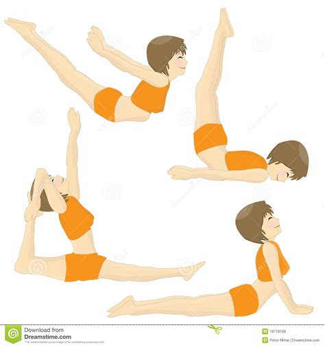 Cartoon Images of Practicing Yoga