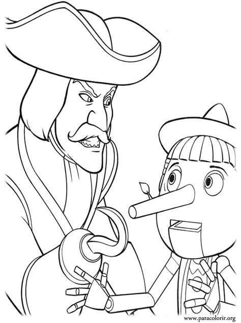 shrek captain hook  pinocchio coloring page