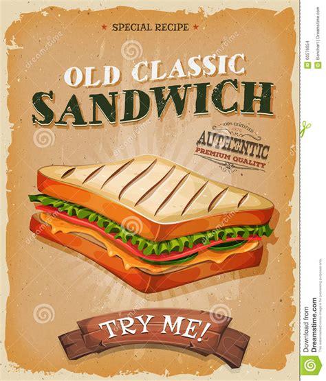 affiche vintage cuisine grunge and vintage sandwich poster stock vector