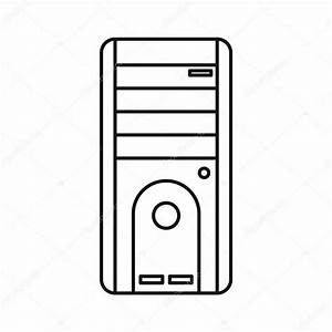 Computer system unit icon, outline style — Stock Vector ...
