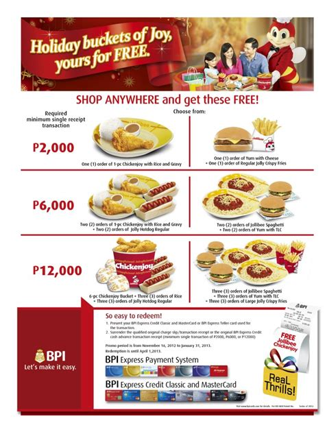 For withdrawals more than p7,500: BPI Credit Card Promo 2013 - Get Free Jollibee Treats | MakiSALE