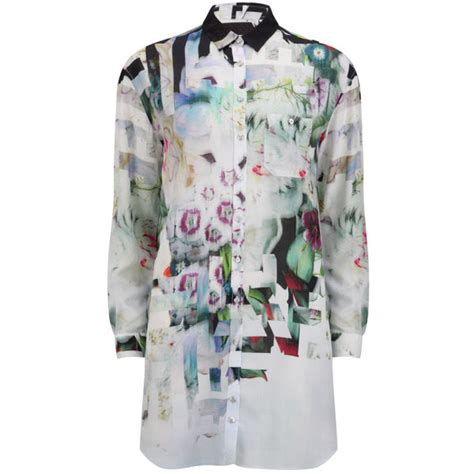 paul by paul smith s underwater floral oversized shirt dress anthracite free uk