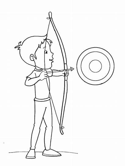 Coloring Arrow Bow Pages Target Boy Archery