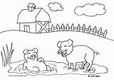 Farm Coloring Pages Animals Pigs Crafts Farmer Oink Activities Diy sketch template