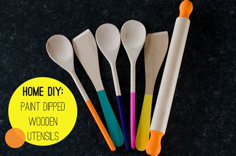 diy paint dipped wooden spoons spatulas