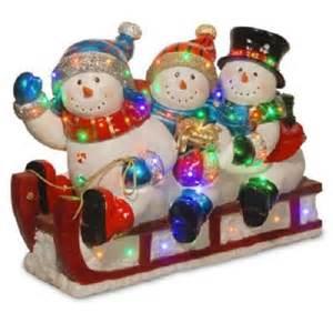 quality resin 29 quot outdoor 3 snowmen snowman sled yard decor led lights jacksonville