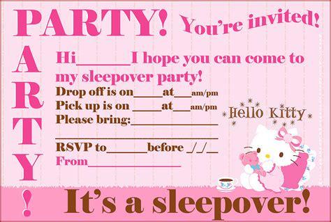 FREE HELLO KITTY PRINTABLE SLEEPOVER PARTY INVITES
