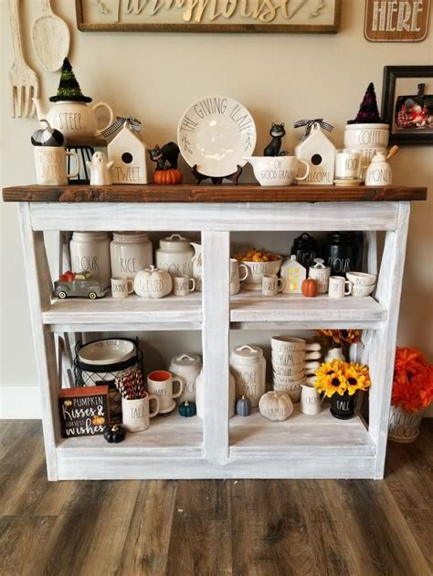 Coffee station ideas create a unique, personalized look in the caffeine bar. Pin by Kristi Harrold on Rae Dunn ideas | Farmhouse coffee bar, Decor, Bar table
