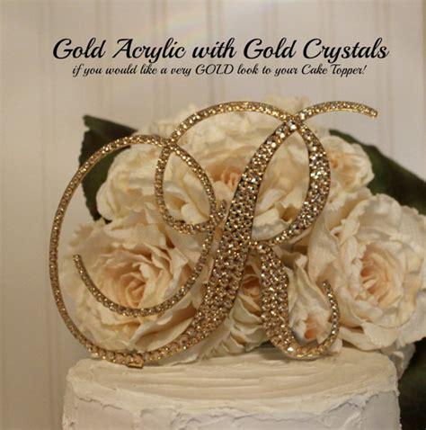 gold acrylic  gold swarovski crystals monogram wedding cake topper   letter