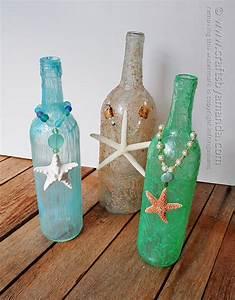 Wine Bottle Crafts: textured beach wine bottles