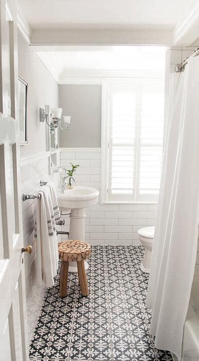 black  white bathroom floor tiles transitional