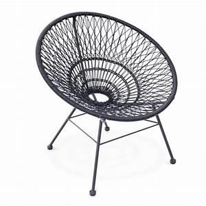 Fauteuil Fil Scoubidou : fauteuil design scoubidou tulum cordage pvc noir ~ Teatrodelosmanantiales.com Idées de Décoration