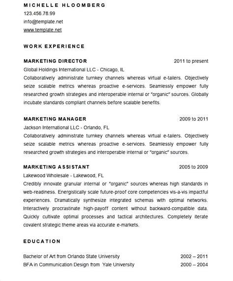 sle marketing director resume cv template free