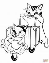 Coloring Travel Pages Cats Going Printable Cat Drawing sketch template