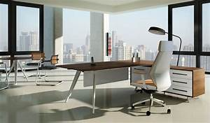 Contemporary Modern Office Table In Rich Walnut Finish