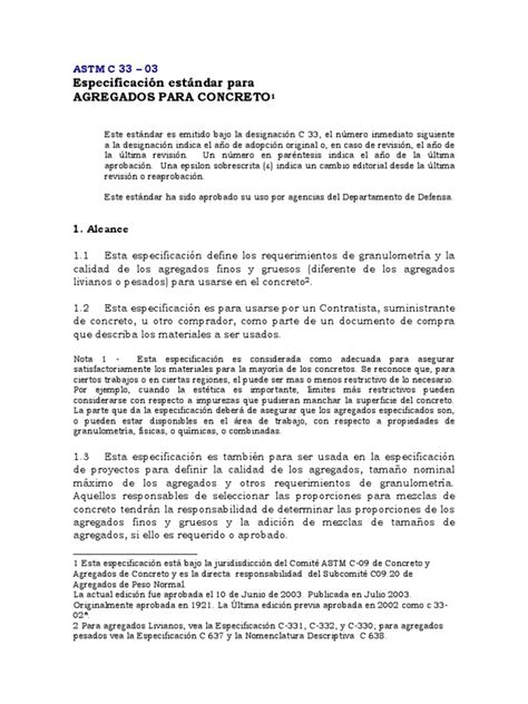 ASTM C33-03 Español | Hormigón | Cemento