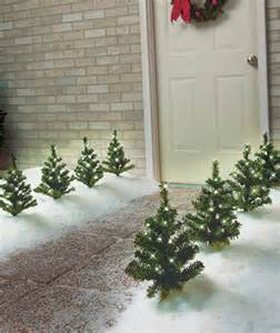set of 4 miniature solar lighted trees holiday christmas outdoor decorations ebay