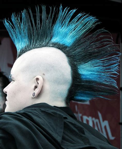 black blue mohawk   hair