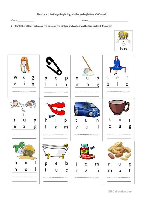 cvc words beginning middle  letters worksheet