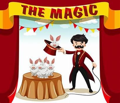 Magic Magician Clip Rabbits Clipart Vector Illustration
