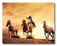 Horse and Cowboy Art Print