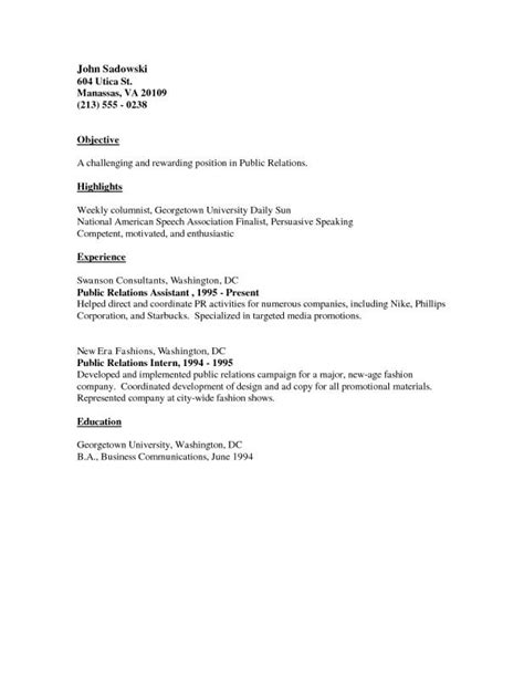 Exles Of Basic Resumes by Basic Resume Exles Template Business