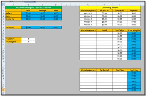 estimating spreadsheet template spreadsheet templates