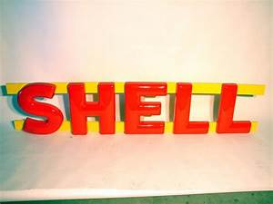 nos set of 1950s 60s shell gasoline station three With 3 dimensional letters