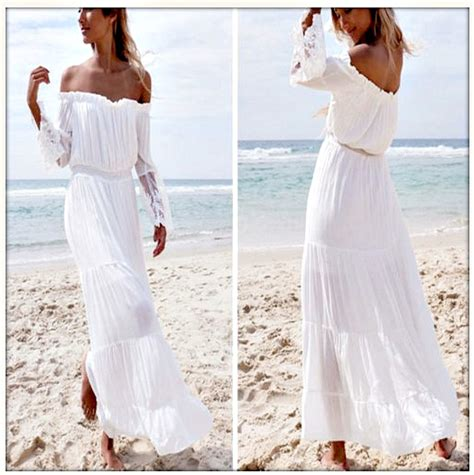 shoulder lace sleeve white chiffon maxi dress