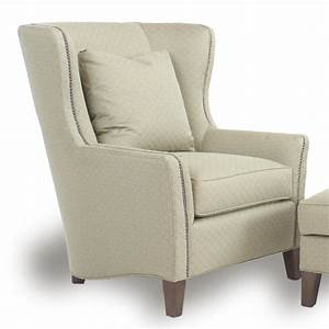 Contemporary, Wingback, Chair, With, Track, Arms, By, Smith, Brothers