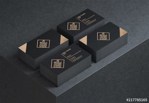 business card mockup  black table buy  stock