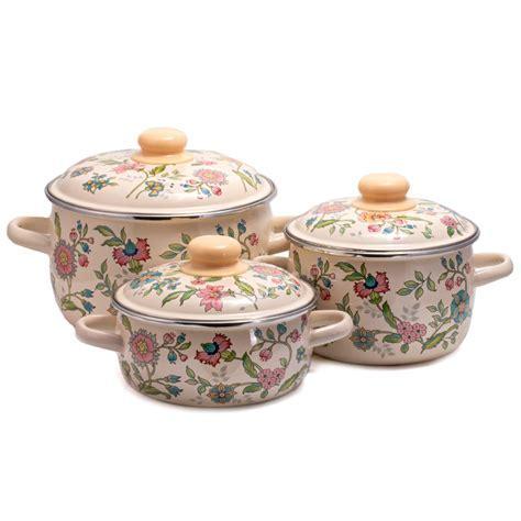Meadow Flowers Enamel Cooking Pot Set   Product sku J 149652