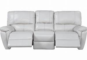 Browning bluff light gray leather reclining sofa leather for Grey leather sectional sofa with recliners