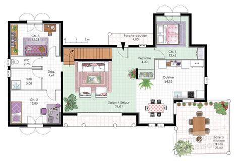 plan maison rdc 3 chambres vaste villa familiale dé du plan de vaste villa