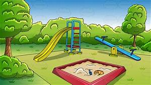 An Outdoor Playground Background Cartoon Clipart - Vector ...