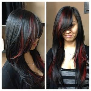 Black and Dark Brown Hair with Red Streaks